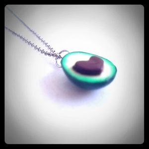 NEW Avocado Heart Silver Charm Necklace